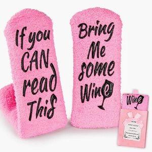 Fun, Cozy Wine Socks in Cute Pink Gift Box!!